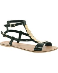 Asos Asos Freefall Leather Sandals with Trim - Lyst