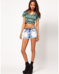 ASOS Collection  Denim Short with Ripped Panels - Lyst