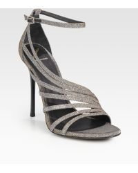 B Brian Atwood Glitter Strappy Sandals - Lyst
