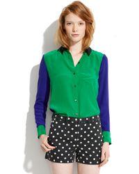 Madewell - Silk Colorblock Boyshirt - Lyst