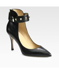 Valentino Rockstud Leather Ankle Strap Pumps - Lyst