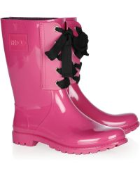 RED Valentino - Laceup Rubber Rain Boots - Lyst