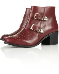 Topshop Alvin Studded Buckle Boots red - Lyst