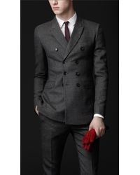 Burberry Prorsum Skinny Fit Double Breasted Wool Twill Jacket - Lyst