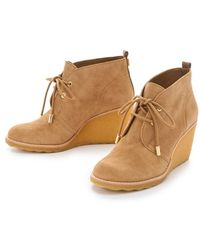 Tory Burch Vikki Lace-up Wedge Bootie - Brown