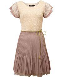Pussycat Lace Pleat Dress beige - Lyst