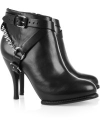 McQ by Alexander McQueen Chaintrimmed Leather Ankle Boots - Lyst