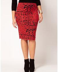 ASOS Pencil Skirt in Aztec Print - Red