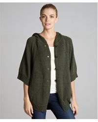 Autumn Cashmere Forest Cotton Button Front Hooded Poncho Sweater green - Lyst