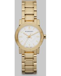 Burberry Check Stamped Round Stainless Steel Watch - Lyst