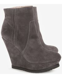 Pura López Wedge Ankle Booties - Gray