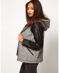 ASOS Collection  Mixed Fabric Hooded Jacket - Lyst