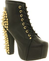Jeffrey Campbell Lita Platform Ankle Boot Black Gold Spikes - Lyst