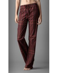 Burberry Check Cotton Pajama Pants - Red
