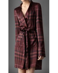 Burberry Check Silk Dressing Gown - Red