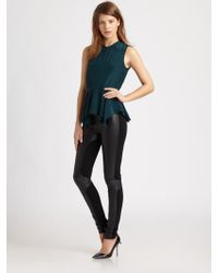 Elizabeth And James Yumi Silk Peplum Top - Lyst