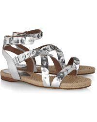 Belle By Sigerson Morrison Studded Metallic Espadrille Sandals - Lyst