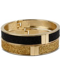 Betsey Johnson Gold And Black Glitter Bangle Bracelet Set gold - Lyst