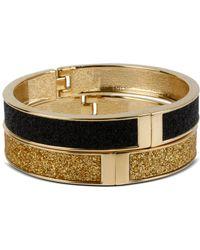 Betsey Johnson Gold And Black Glitter Bangle Bracelet Set - Lyst