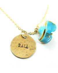Sari Glassman Personalized Lampwork 14k Gf Turquoise Engli - Lyst