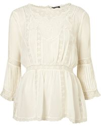 Topshop Embroidered Lace Insert Tunic white - Lyst