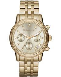 Michael Kors Midsize Golden Stainless Steel Ritz Chronograph Glitz Watch - Lyst