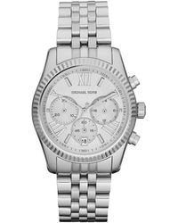 Michael Kors Mid Size Silver Color Stainless Steel Lexington Chronograph Watch - Lyst