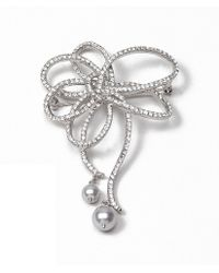 Brooks Brothers - Pave Bow with Pearl Drop Brooch - Lyst