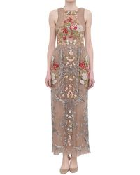 Valentino Floral And Pearls Embroidered Dress beige - Lyst