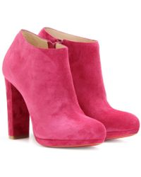Christian Louboutin Rock and Gold 120 Suede Platform Ankle Boots - Lyst
