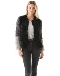 DKNY - Colorblock Stretch Shearling Coat - Lyst