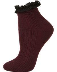 Topshop Wine Lace Trim Ankle Socks - Lyst