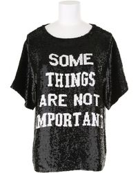 Ashish Silk Top Embroidered with Black and White Sequins - Lyst