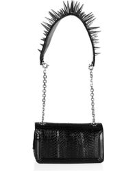 Christian Louboutin Artemis Spiked Water Snake and Leather Shoulder Bag - Lyst
