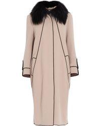 Elie Saab Removable Fur Collar Coat - Natural