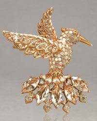 Jay Strongwater - Hummingbird Crystal Brooch - Lyst
