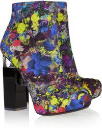 Nicholas Kirkwood Geometricheel Printed Silkcovered Leather Ankle Boots - Lyst