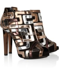 Pierre Hardy Mirrored Leather-Trimmed Suede Ankle Boots gold - Lyst