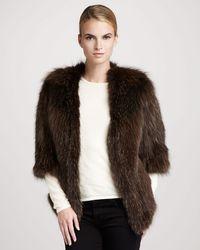 Tasha Tarno - Knitted Fox Fur Crewneck Jacket - Lyst