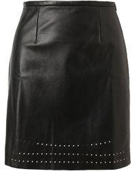 Yasmin Kianfar Laser Cut Leather Skirt black - Lyst