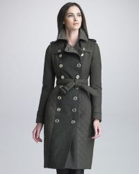Burberry Prorsum Tweed Panel Quilted Trench Coat - Lyst