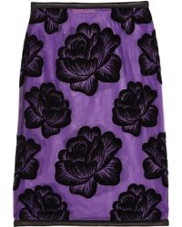 Christopher Kane Leather Trimmed Flocked Tulle Pencil Skirt - Lyst