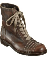 Henry Cuir - Stitched Laceup Ankle Boot - Lyst