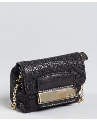 Jimmy Choo - Black Glitter Fabric Caro Convertible Chain Strap Pouch Clutch - Lyst