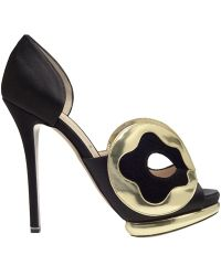 Nicholas Kirkwood Silksatin Dorsay Pumps with Mask Front - Lyst