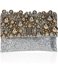 Anya Hindmarch Valorie Bells Embellished Glitterfinished Leather Clutch silver - Lyst