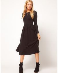 ASOS Collection Asos Midi Dress With Long Sleeve black - Lyst