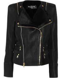 Balmain Shearling Biker Jacket black - Lyst