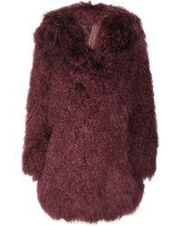 Versus  Hooded Shearling Coat red - Lyst