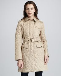 Burberry Brit - Long Quilted Jacket Trench - Lyst